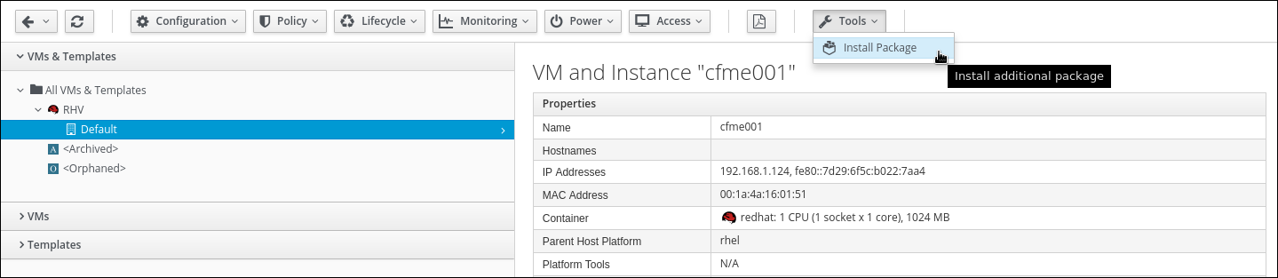VM with additional tools menu