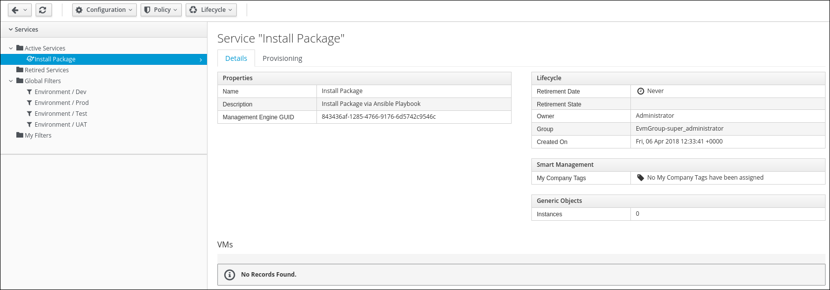 My Service Install Package Details