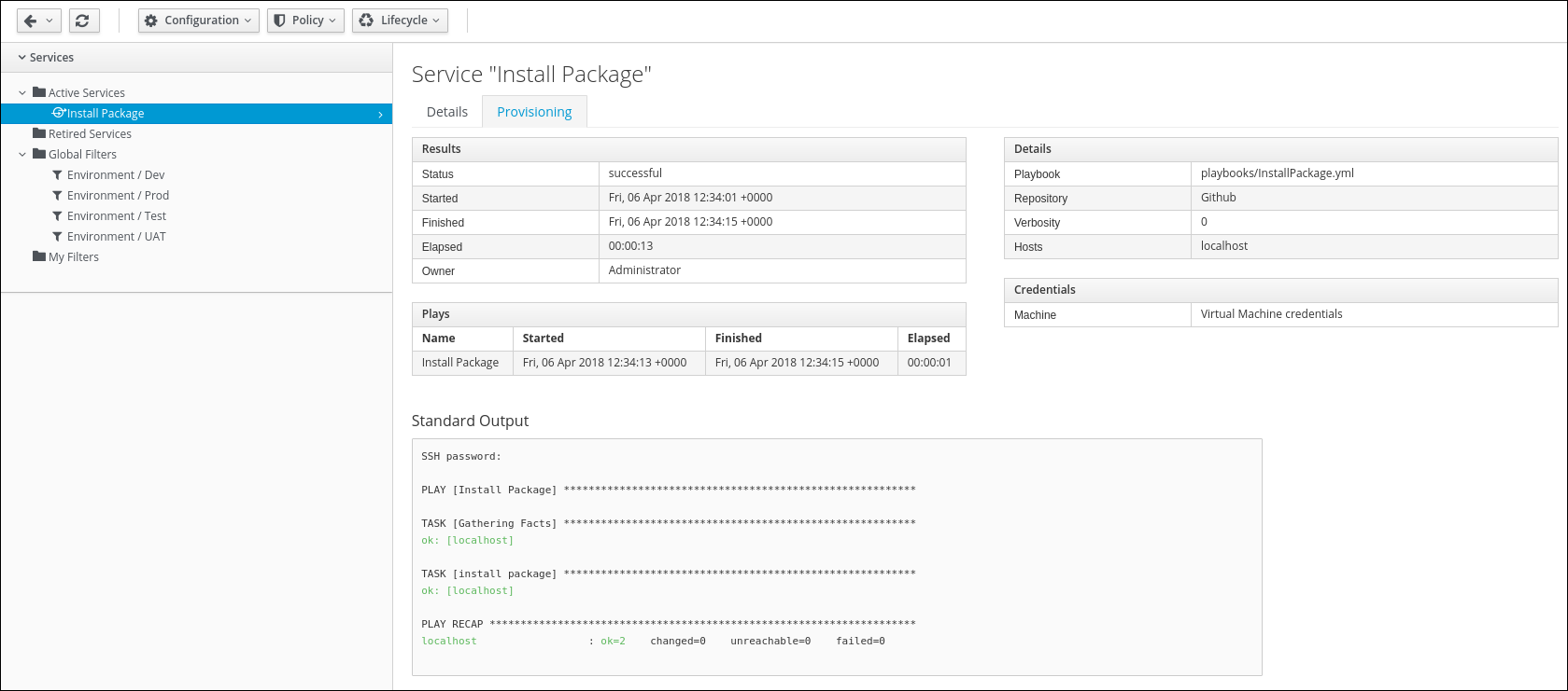 My Service Install Package Provisioning