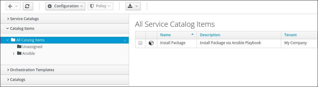 navigate to Catalog Items