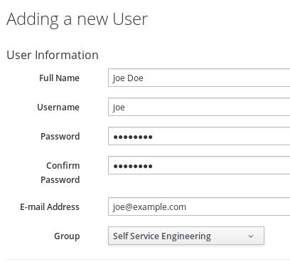 add new user Joe Doe