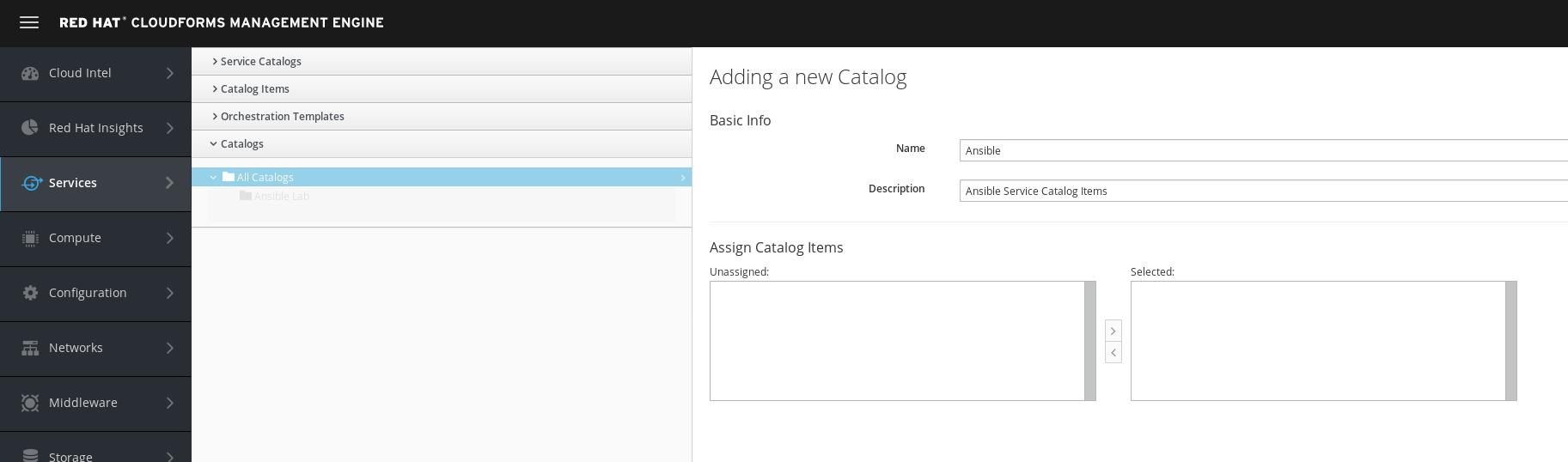 create ansible catalog