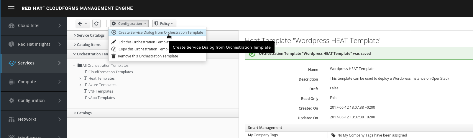 create service dialog from wordpress heat template