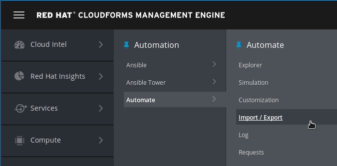 navigate to automate import/export
