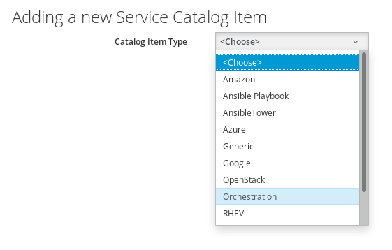 select catalog item type