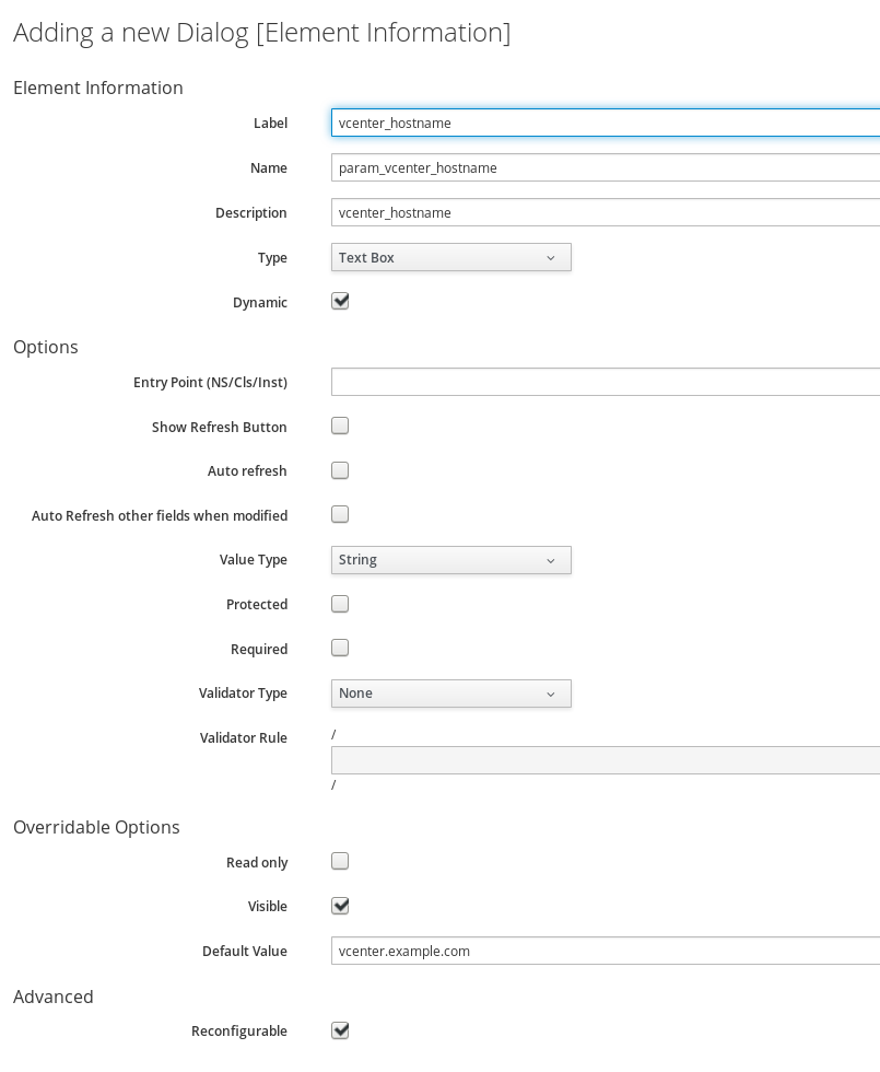 form after selecting dynamic