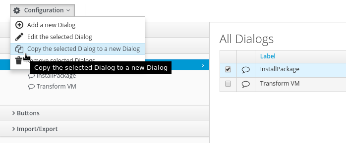 copy install package service dialog