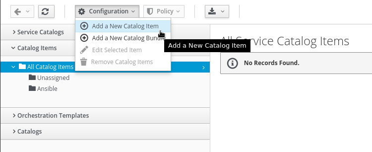 create new catalog item