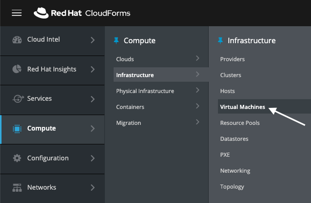 navigate to infrastructure virtual machines