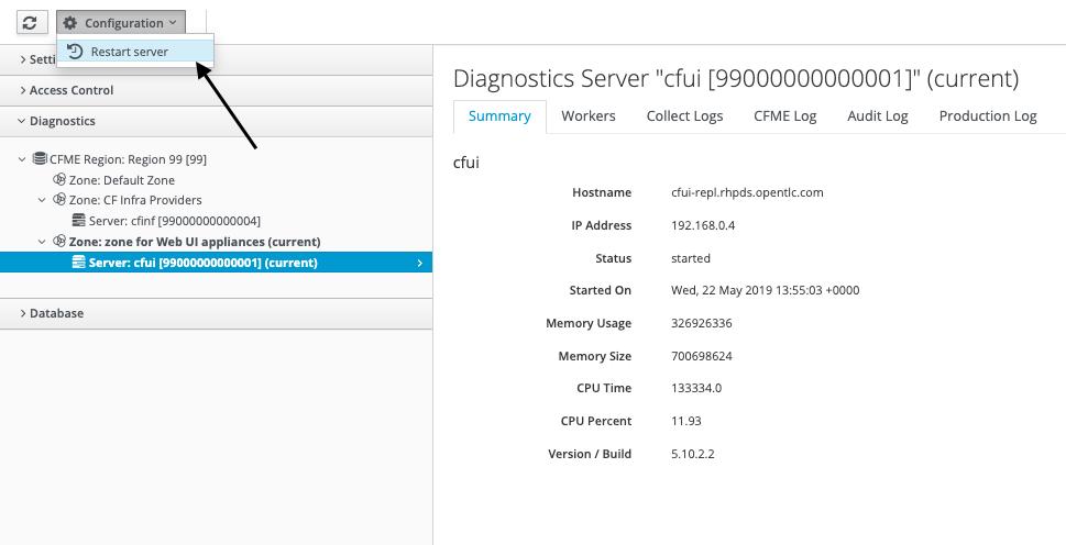 restart CloudForms Server