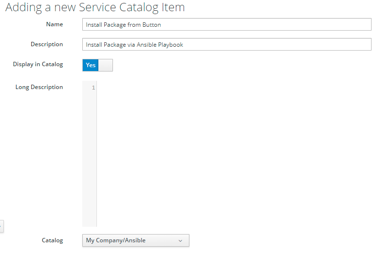dialog to create InstallPackage Service Catalog Item