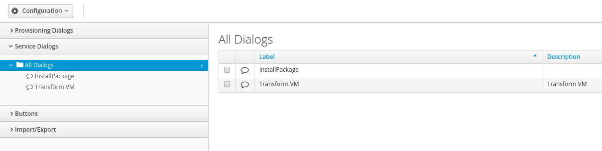 navigate to Service Dialogs