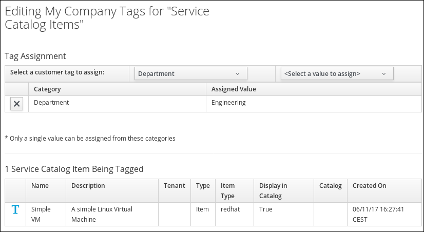 assign department engineering tag