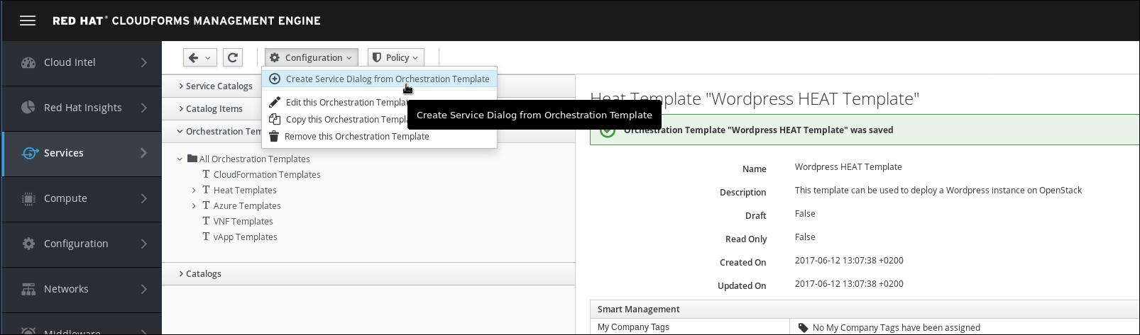 create service dialog from wordpress heat template