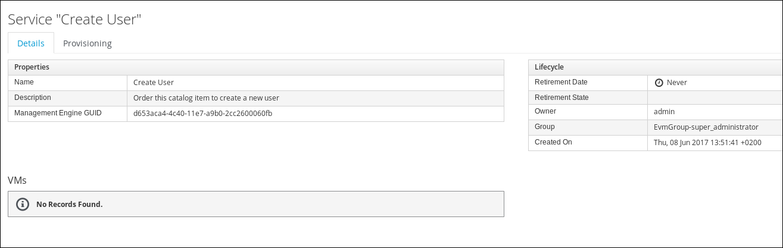 create user service details