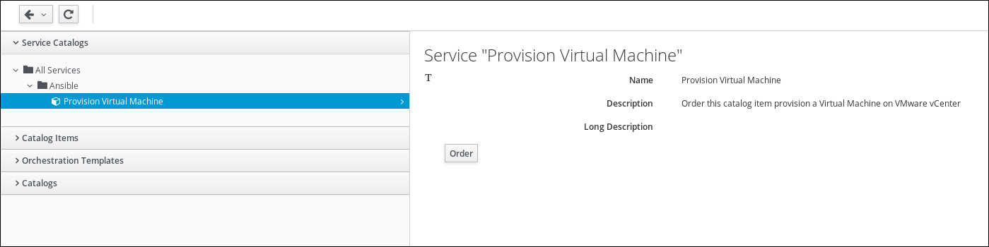 provision virtual machine catalog item