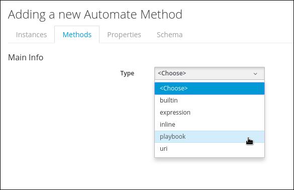 select playbook method type