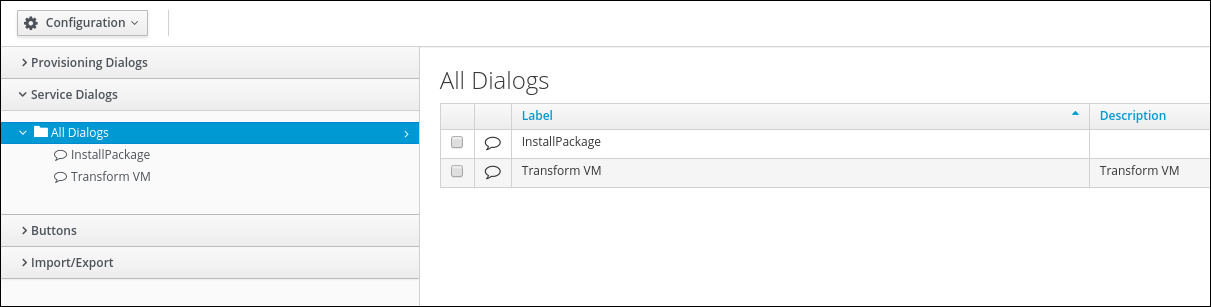 navigate to Service Dialogs