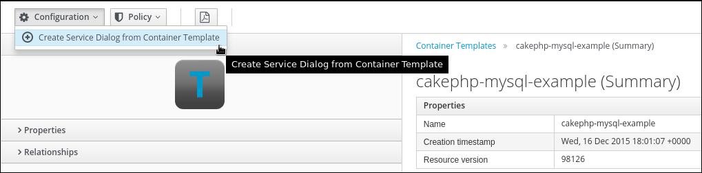 create Service Dialog