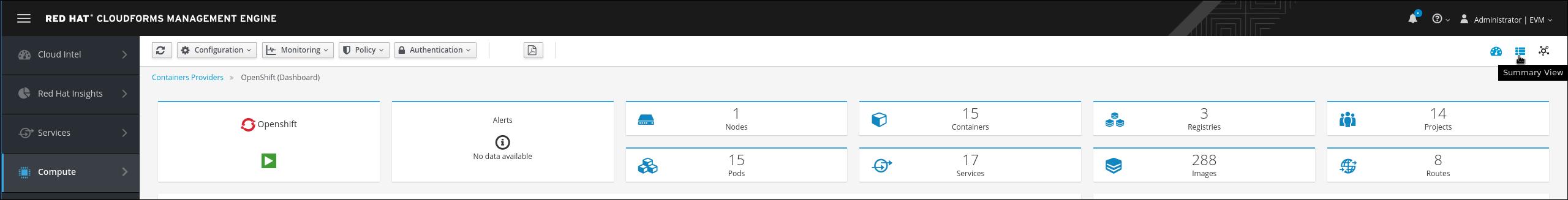 OpenShift provider summary button