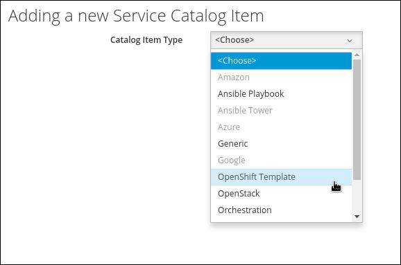 select catalog item type