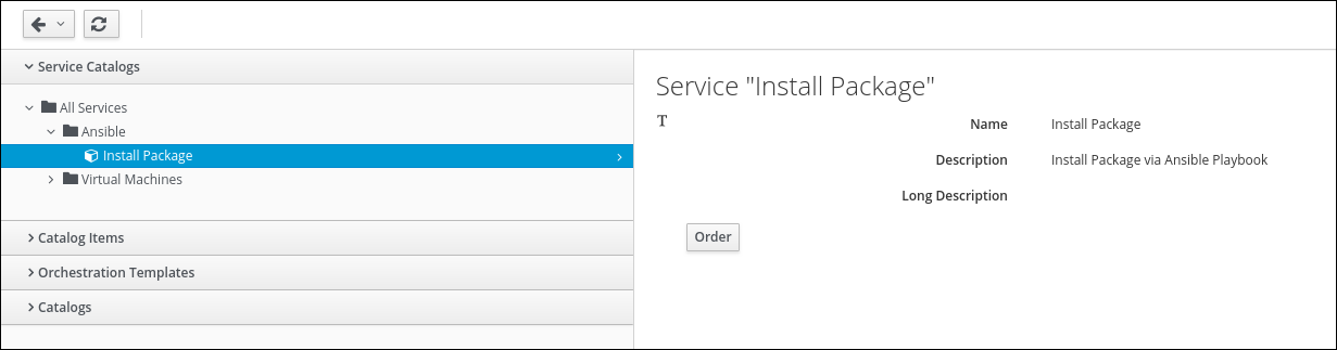 select install package Service Catalog Item