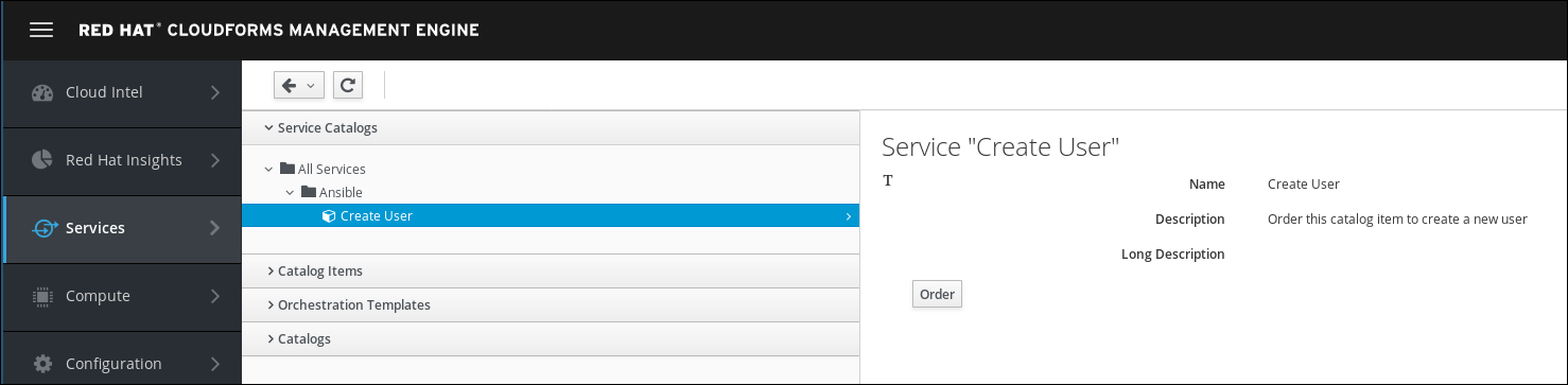 navigate to service catalog